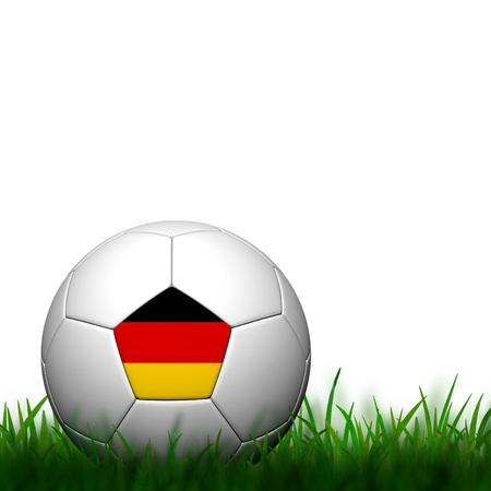patter: 3D Football Germany Flag Patter in green grass on white background Stock Photo