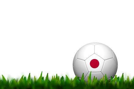 3D Soccer balll Japan Flag Patter on green grass over white background photo