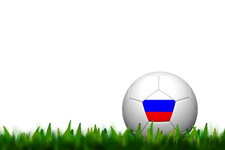 3D Soccer balll Russia Flag Patter on green grass over white background photo