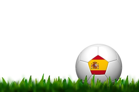 3D Soccer balll Spain Flag Patter on green grass over white background photo