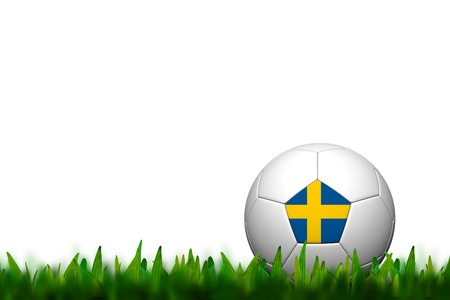 3D Soccer balll Sweden  Flag Patter on green grass over white background photo