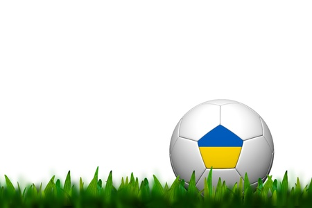 3D Soccer balll Ukraine  Flag Patter on green grass over white background photo