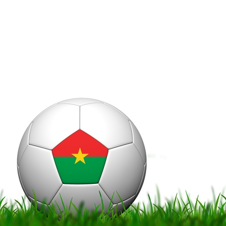 3D Soccer balll  Burkina Faso Flag Patter on green grass over white background photo