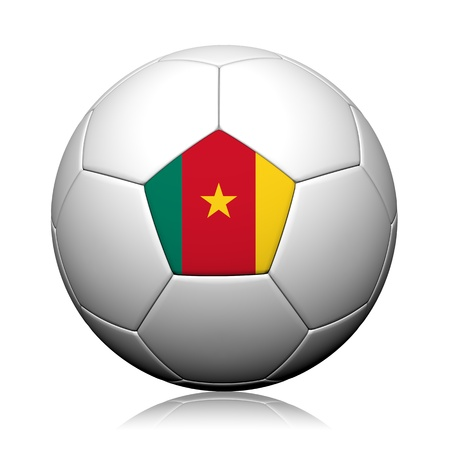 Cameroon Flag Pattern 3d rendering of a soccer ball photo
