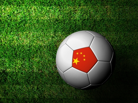China Flag Pattern 3d rendering of a soccer ball in green grass