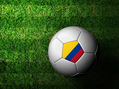 Colombia Flag Pattern 3d rendering of a soccer ball in green grass