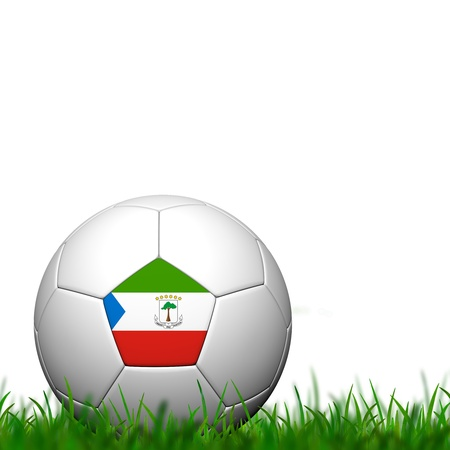 Soccer 3D balll Guinea Ecuatorial Patter Bandera en la hierba verde sobre fondo blanco