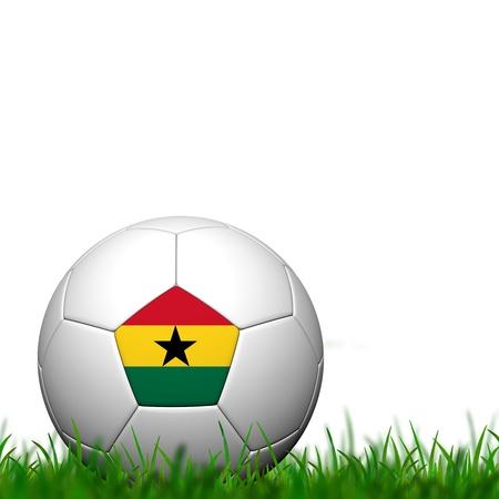 3D Soccer balll  Ghana Flag Patter on green grass over white background photo