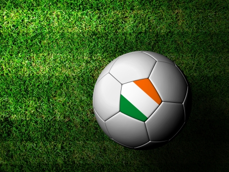 Ireland Flag Pattern 3d rendering of a soccer ball in green grass photo