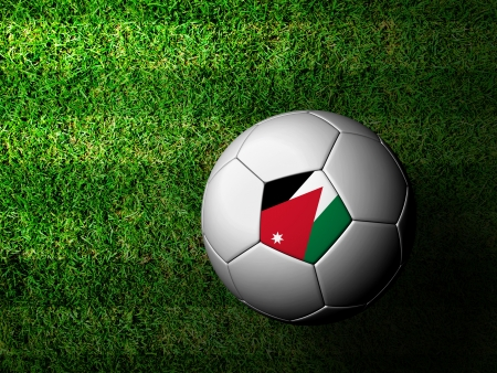 Jordan Flag Pattern 3d rendering of a soccer ball in green grass photo