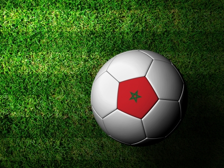 Morocco Flag Pattern 3d rendering of a soccer ball in green grass photo