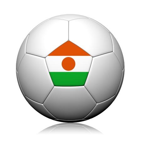 niger: Niger Flag Pattern 3d rendering of a soccer ball