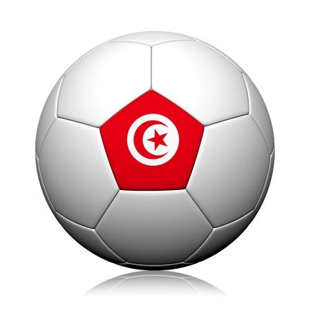 Vlag van Tunesië Patroon 3D-rendering van een voetbal Stockfoto