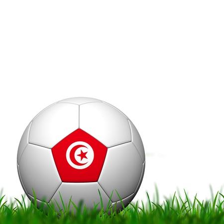 3D Soccer balll Tunisia Flag Patter on green grass over white background photo