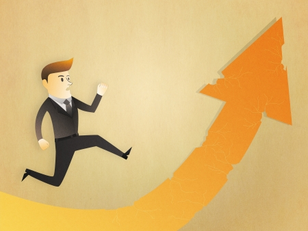 Conceptual image - Business man run to the risk way photo