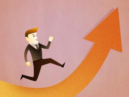 Conceptual image - Business man run to the success photo