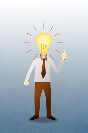 Business man with head  idea lightbulb  Stock Photo - 14696685