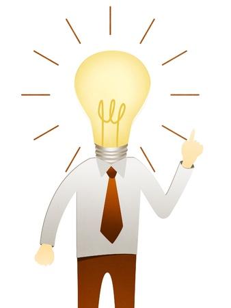 positive energy: Business man with head idea lightbulb