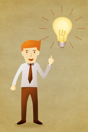 Business man with idea lightbulb  Stock Photo - 14696695