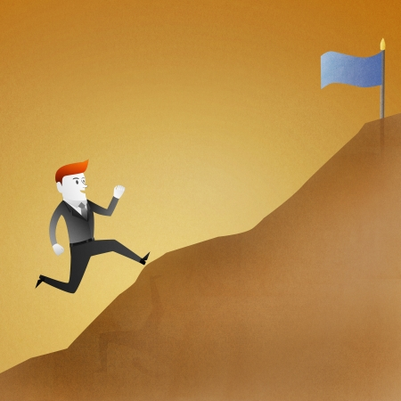 Conceptual image - Business man go running up mountain represent themes involving success photo