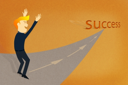 Conceptual image - Business man way to the success photo