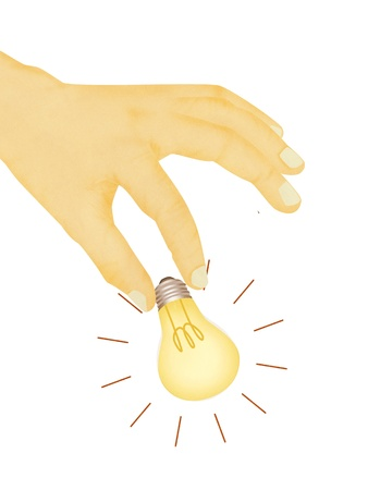 removing: Paper texture ,  illustration of hand picking light bulb