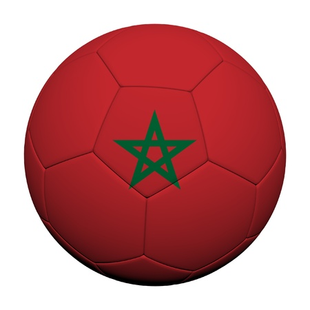 Morocco Flag Pattern 3d rendering of a soccer ball photo