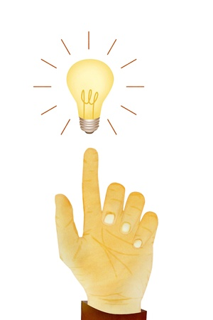 Paper texture ,Hand gesture direction bulb idea photo