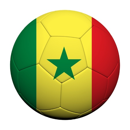 Senegal Flag Pattern 3d rendering of a soccer ball