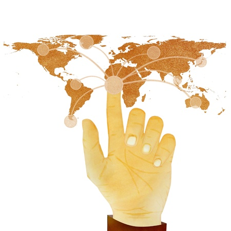Paper texture ,Hand pressing digital button on world map on white background photo