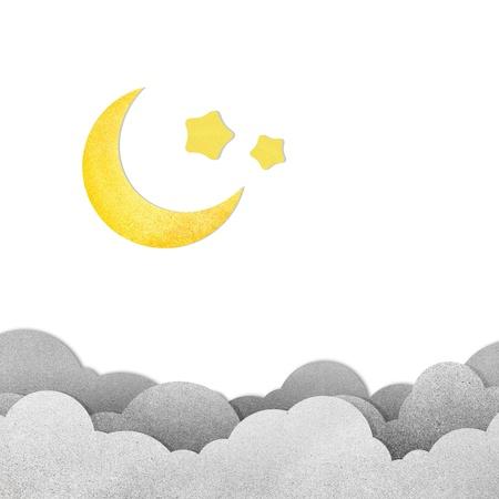 Grunge papier textuur maan in de nacht