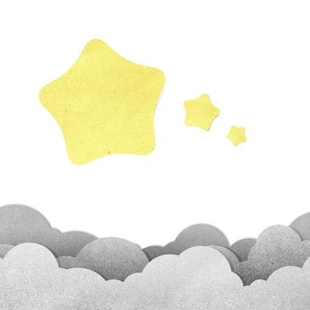 Grunge paper texture star on white background photo