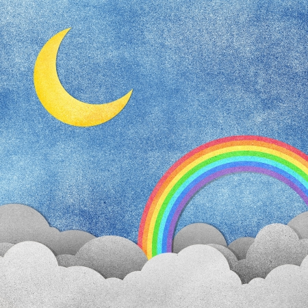 Grunge paper texture moon and rainbow  photo