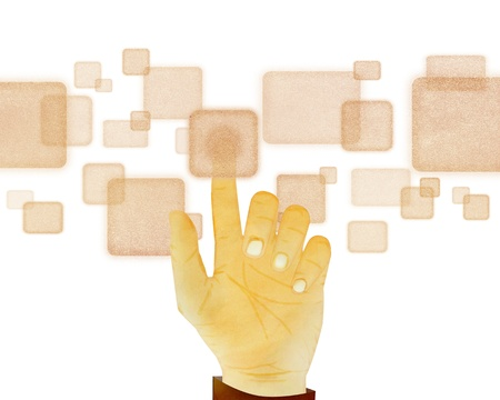 Paper texture ,Hand gesture pushing button on touch screen on white background photo
