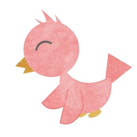 breast comic: Paper texture,Drawing of a cute cartoon bird