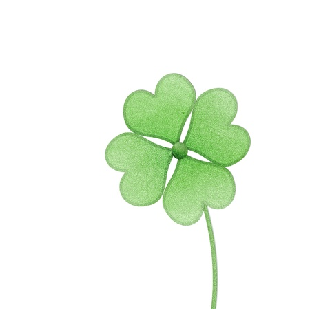 recycle paper clover with four leaves on white background Stock Photo - 15360287