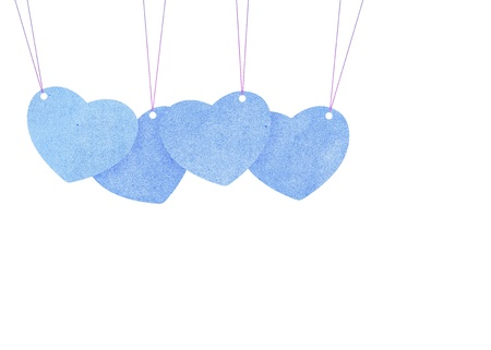 Recycle paper Valentine heart  hanging labels. Stock Photo - 15360772