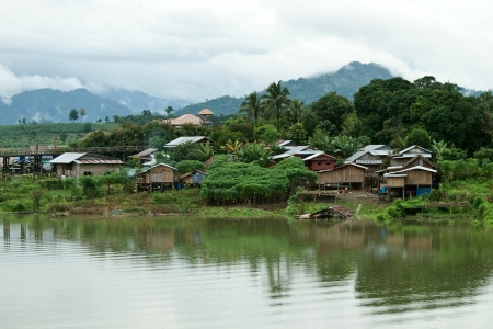 Thailand Floating Town in Sangklaburi Kanchanaburi Thailand Stock Photo - 15361198