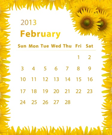 2013 year calendar ,February with Sunflower frame design photo