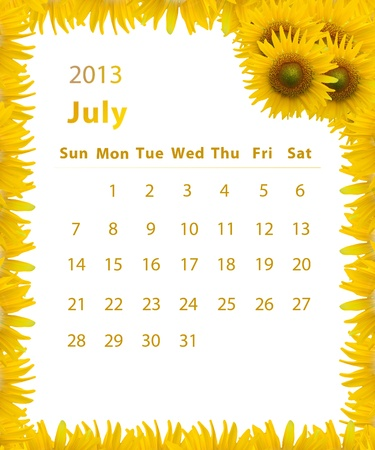 2013 year calendar ,July with Sunflower frame design photo