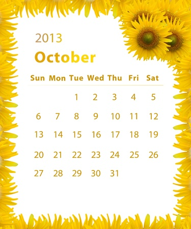 2013 year calendar ,October with Sunflower frame design photo