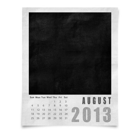 2013 year calendar ,August on blank photo frame isolated on white photo