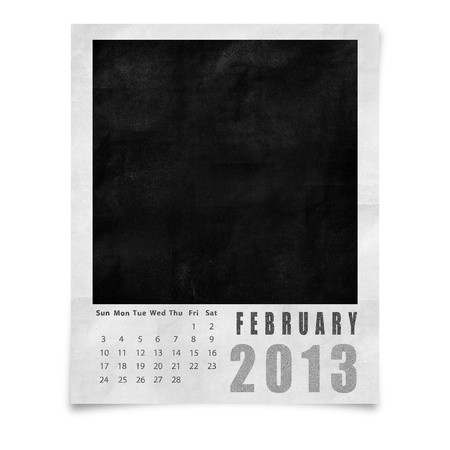 2013 year calendar ,February on blank photo frame isolated on white photo