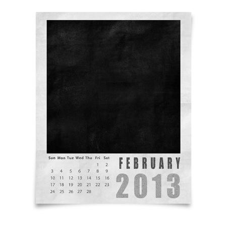 2013 year calendar ,February on blank photo frame isolated on white Stock Photo - 15588893