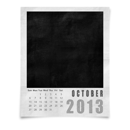 2013 year calendar ,October on blank photo frame isolated on white photo