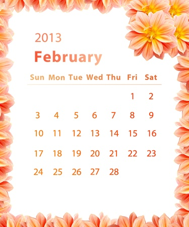 2013 year calendar ,February with Pink Flower frame design photo