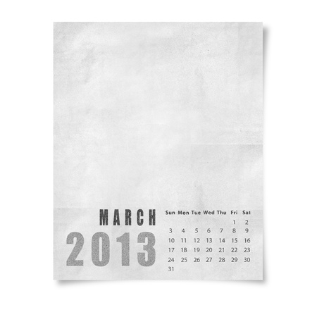 2013 year calendar March on paper photo