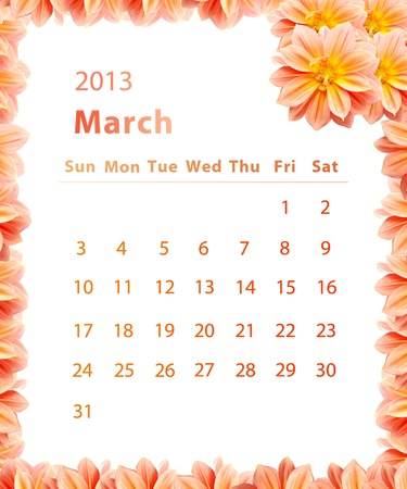2013 year calendar ,March with Pink Flower frame design photo