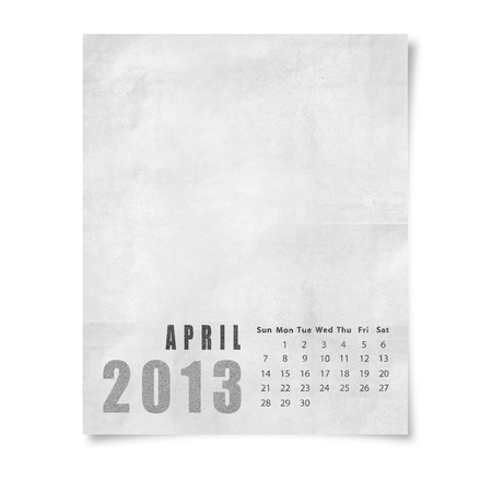 2013 year calendar April on paper