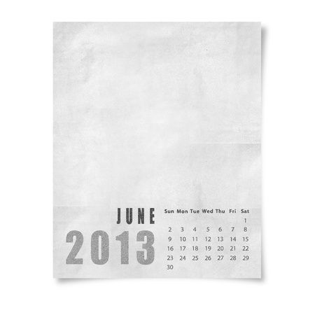 2013 year calendar June on paper photo